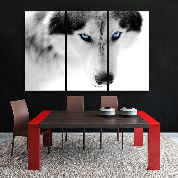 3 Panel Split Art World Map Canvas Print Triptych For: Blue Eyes Wolf 3 Panel Split, Triptych Canvas Print. Multi