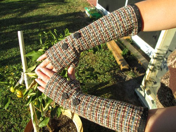 Upcycled  Elegant and classy  Fingerless Mittens by Ritaknitsall, $26.00