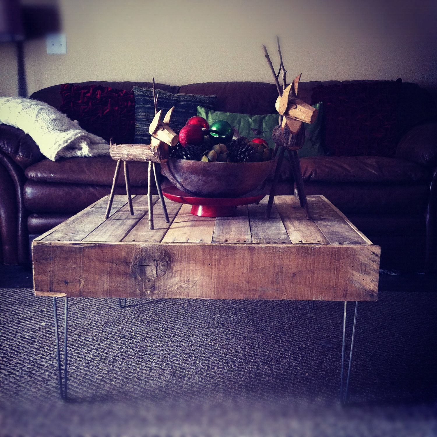 Reclaimed Pallet Dining Table And Bench Hairpin Legs By: SMALL Reclaimed Barnwood Wood Coffee End Table With Steel