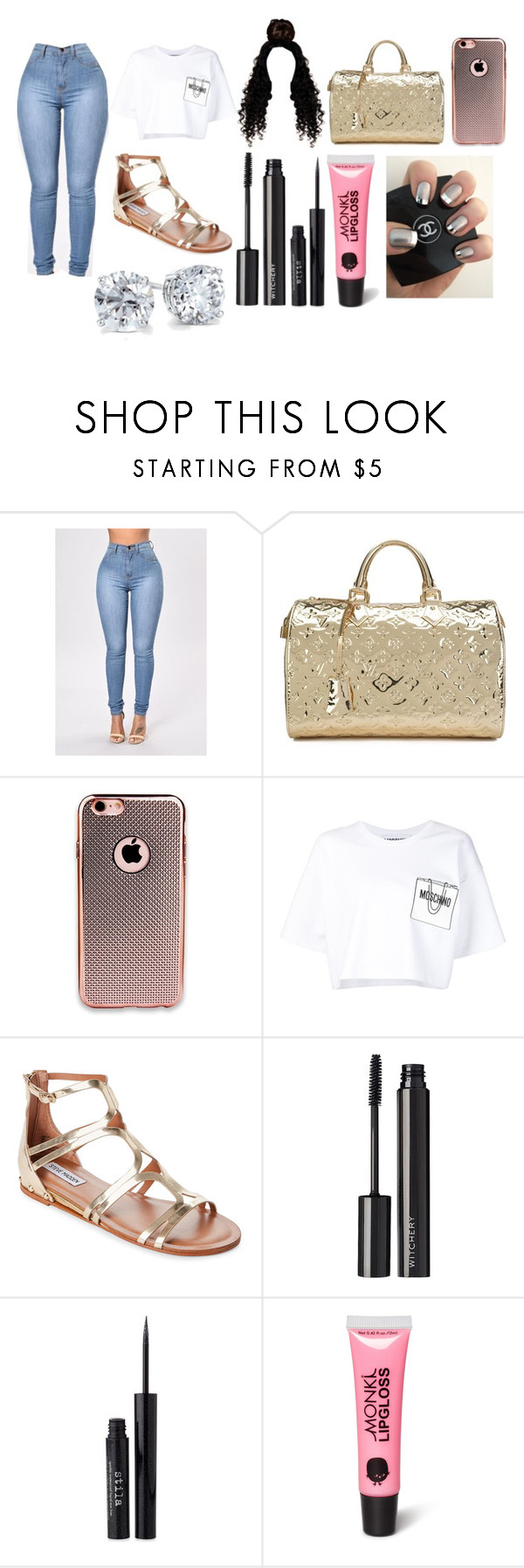 """""""Untitled #3592"""" by mecca-tiana ❤ liked on Polyvore featuring Louis Vuitton, Moschino, Steve Madden, Witchery, Stila, Monki and Blue Nile"""