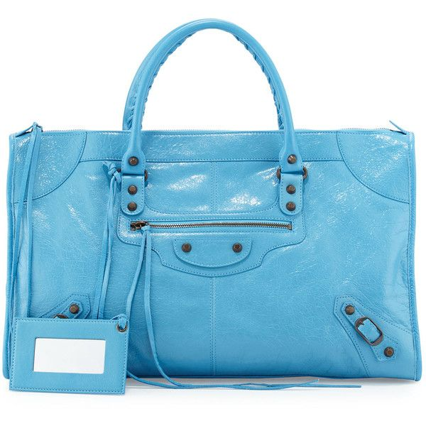 Balenciaga Classic Work Lambskin Tote Bag ($1,945) ❤ liked on Polyvore featuring bags, handbags, tote bags, bleu obscur, studded tote bag, zip top tote, studded handbags, tote purses and blue handbags