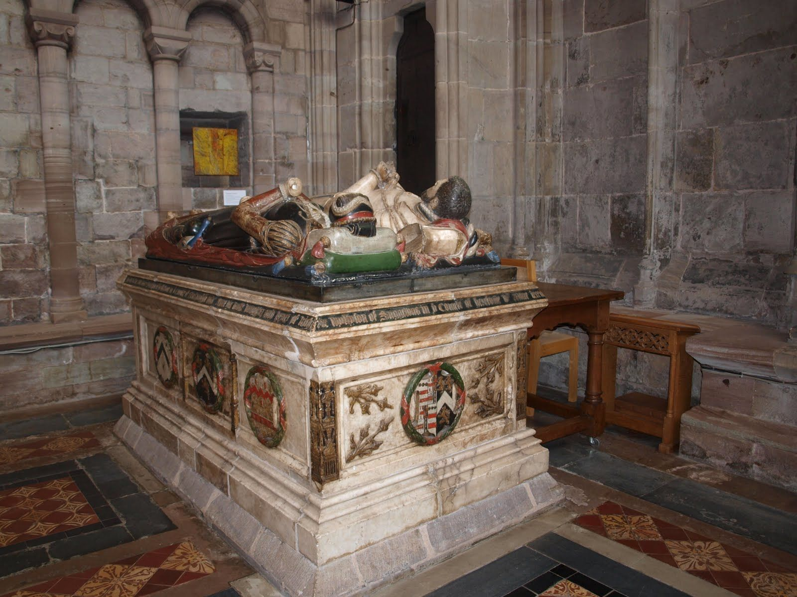 Denton tomb, Hereford Cathedral A tomb to Alexander Denton and wife Anne, née Wilson, C. 1566. Anne died in childbirth aged 18, her swaddled baby is shown. Alexander remarried Mary Martyn and died in 1576. He is buried in Hillesden, Bucks. Photo: RaggedRobinNotes Blog