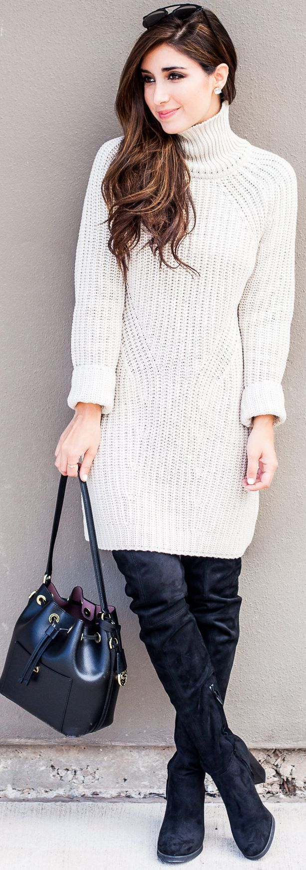 White Sweater Dress Fall Street Style Inspo by The Darling ...