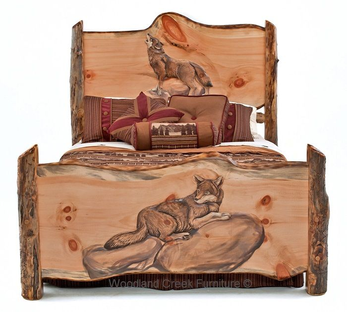 Hand Carved Rustic Log Bed with Wolves