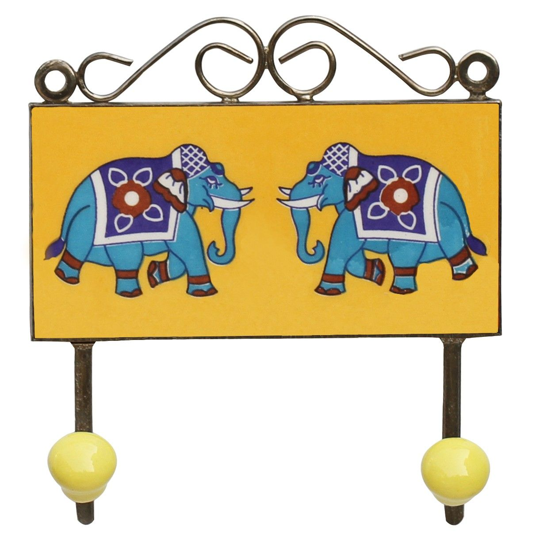 "Elephant Duo 1 – #Handmade 6"" #Ceramic Double #Wall-Hook with 2 ..."