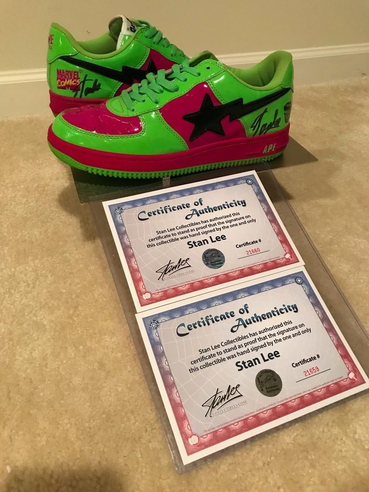 premium selection 1e195 4135a Stan Lee Signed A Bathing Ape x Marvel Comics Incredible Hulk Bapesta Green  10.5  fashion  clothing  shoes  accessories  mensshoes  casualshoes (ebay  link)