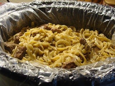 Crockpot Beef & Noodles. I LOVE crockpot meals for my extended days at work. Put everything in before I leave for work, turn it on low, and if there's anything that needs to be added, I just have hubby add it during the day! This would be super easy to have him add the noodles when I'm on my way home, and it'd be done when I walked through the door!
