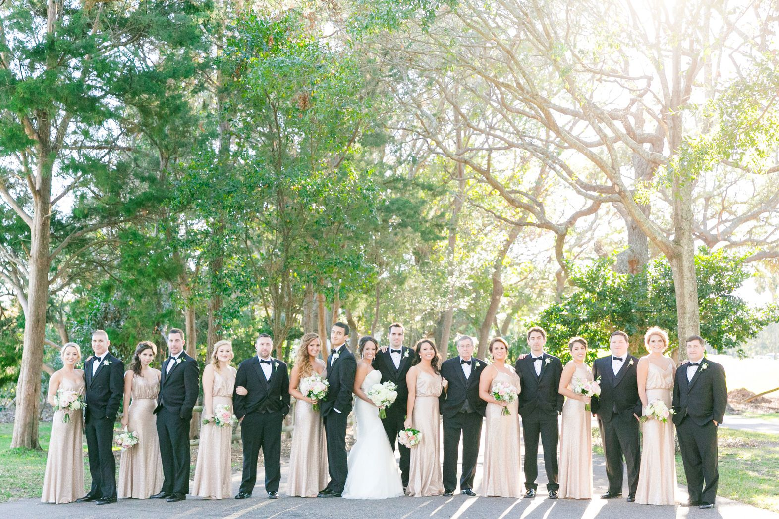 Rose Gold Sequined Bridesmaid Dresses And Black Tuxes Elegant Blush Gold Wedding At The Dunes Club In Myrtle Beac Blush Gold Wedding Blush And Gold Wedding [ 1048 x 1572 Pixel ]