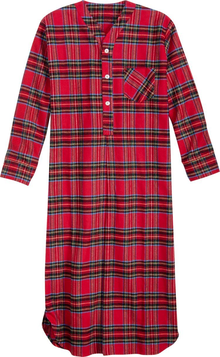 54 Inch Flannel Nightshirt in Red Stewart Plaid  fe3e99b7f