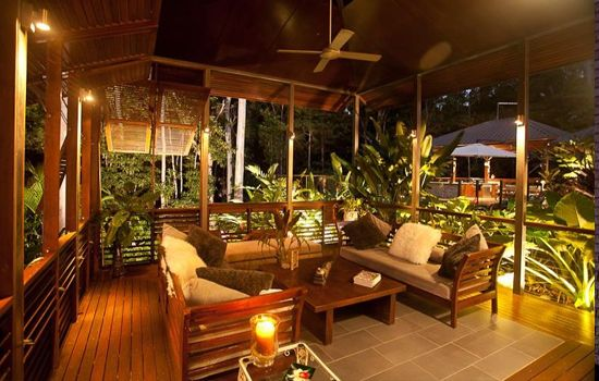 Outdoor Room Designs decoration: cozy outdoor balcony design with armchairs and table