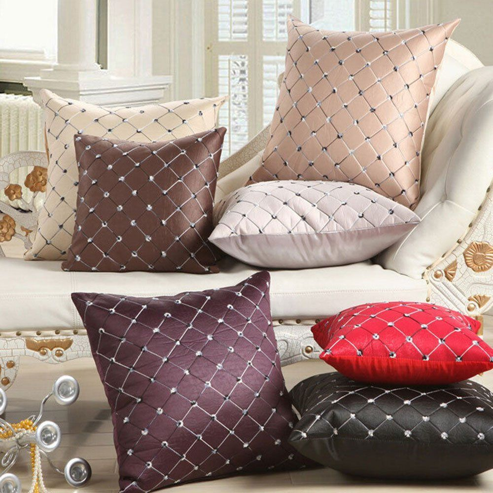 Amazon.com   Sanwood Home Office Sofa Bed Decor Multicolored Embroidery  Plaids Throw Pillow Case