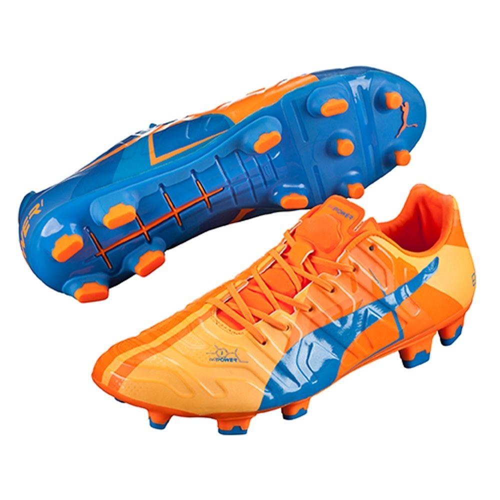 2adcafbac393 SALE $119.95 - Puma evoPOWER 1.2 FG Soccer Cleats (Orange  Clownfish/Electric Blue Lemonade) | Soccer Cleats | Puma evoPOWER | PUMA  103720-01 | SOCCERCORNER.