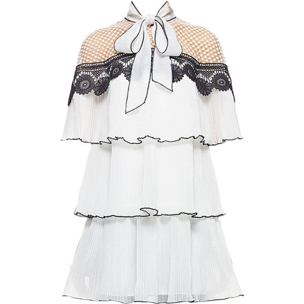 Self Portrait Monochrome Pleated Embroidery Dress Liked