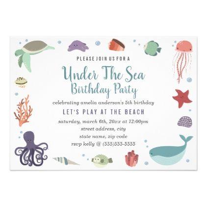 Under the sea kids birthday invitation under the sea kids birthday invitation party gifts gift ideas diy customize stopboris Images