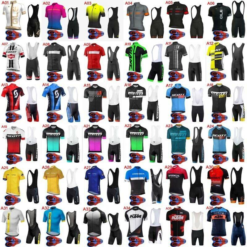 2019 Mens Cycling Jersey Bike Short Sleeve Shirt 9D Bib Shorts Sport Uniform E39