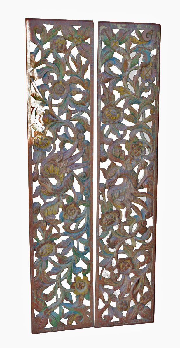 Pair of Antique Decorative Panels from Madura, teak