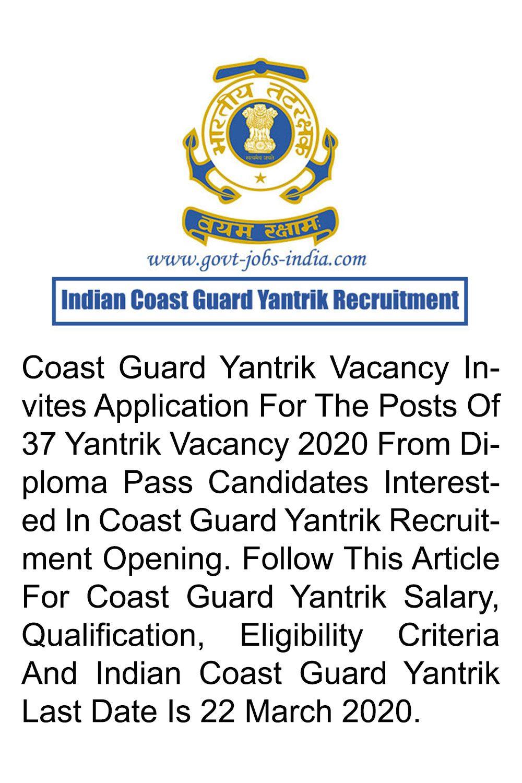 Indian Coast Guard Yantrik Recruitment 2020 - 37 Yantrik ...