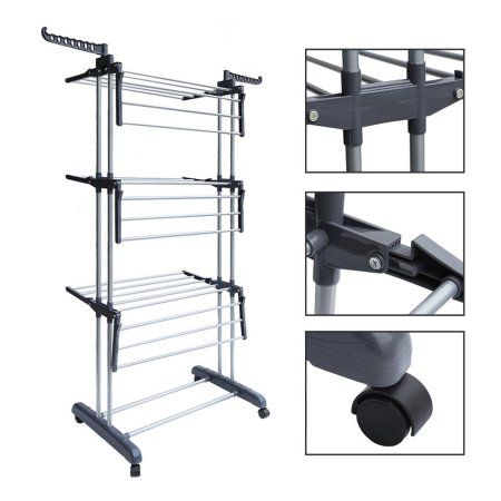 Multifunctional Indoor Outdoor Folding Laundry Storage Rack Clothes Drying Rack Dryer Garment Hanger Stand Laundry Storage Clothes Drying Racks Folding Laundry