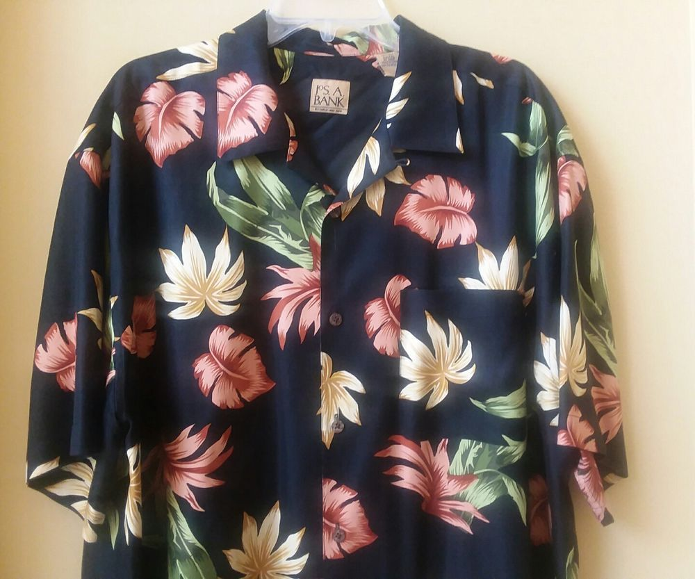 Jos. A. Bank Mens Silk Hawaiian Shirt Black Cruise Camp