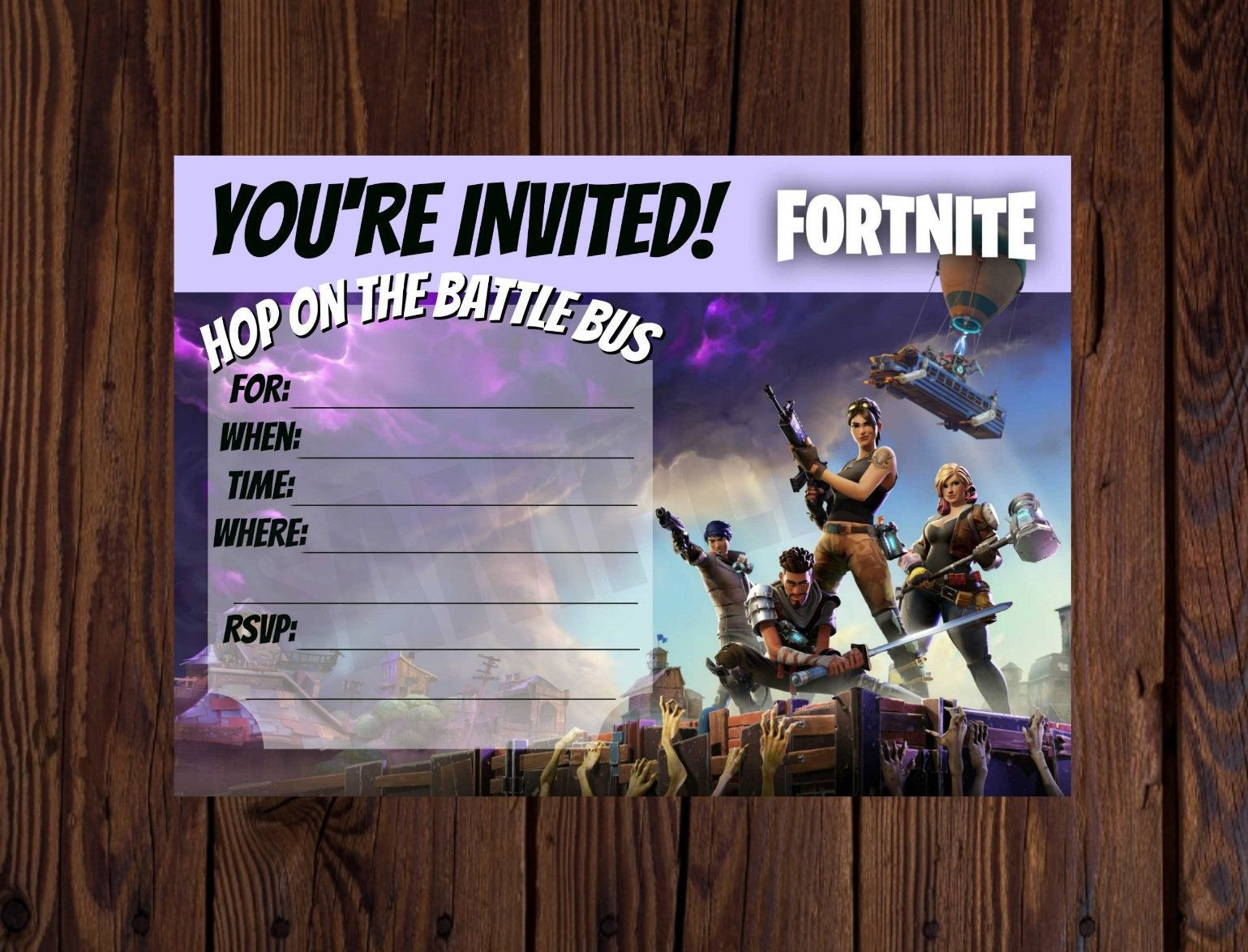 Fortnite Printable invite. Fortnite invitation. Fortnite birthday. Instant Download. Free 4x6 thank you card. by ZarleeLuxCreations on Etsy