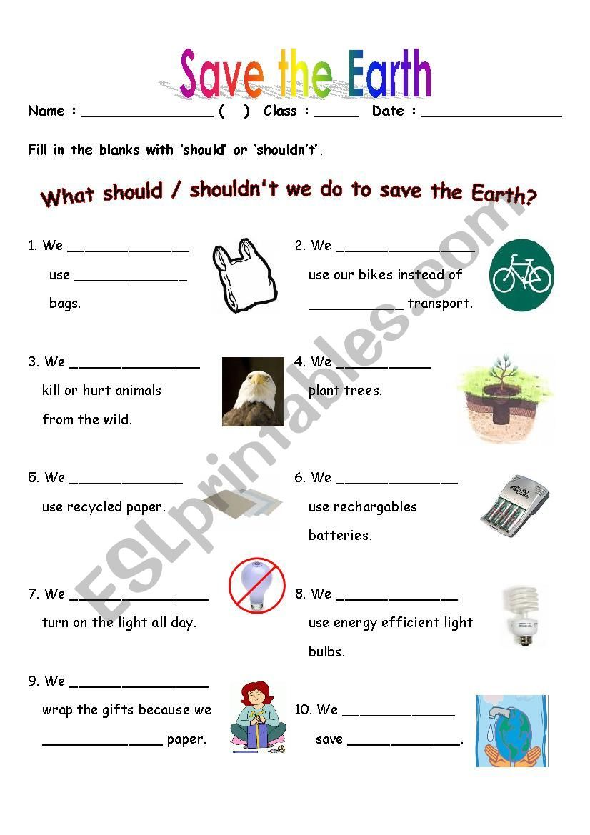 Save the Earth worksheet   Save earth [ 1169 x 826 Pixel ]