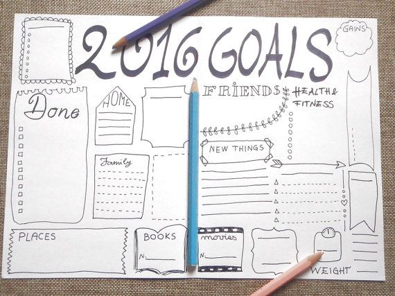 2016 goals journal printable planner #agenda by LaSoffittaDiSte - agenda layout template