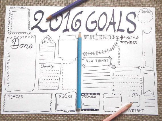 2016 goals journal printable planner #agenda by LaSoffittaDiSte - agenda layout template