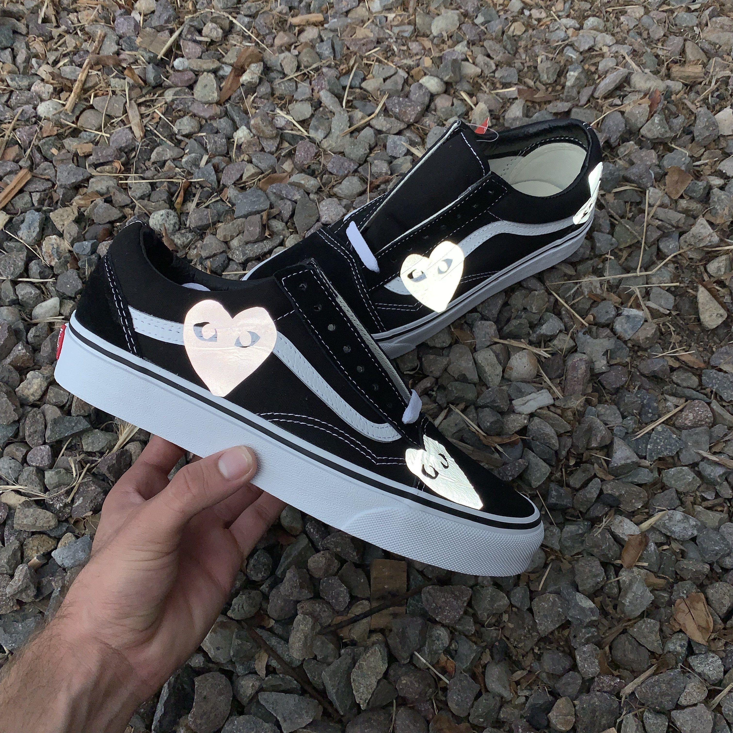 3M Reflective CDG Heart Old Skool Vans