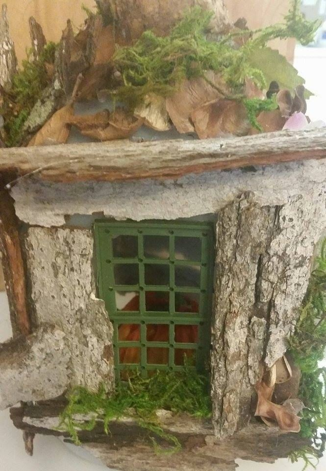 Rustic Fairy House With Large Window And Furniture Inside! Furnished Fairy  House. Furnished Doll House. Camouflaged Fairy House