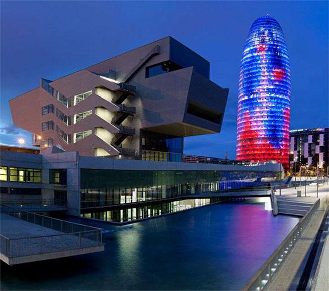 Disseny Hub Barcelona at night (Spain)