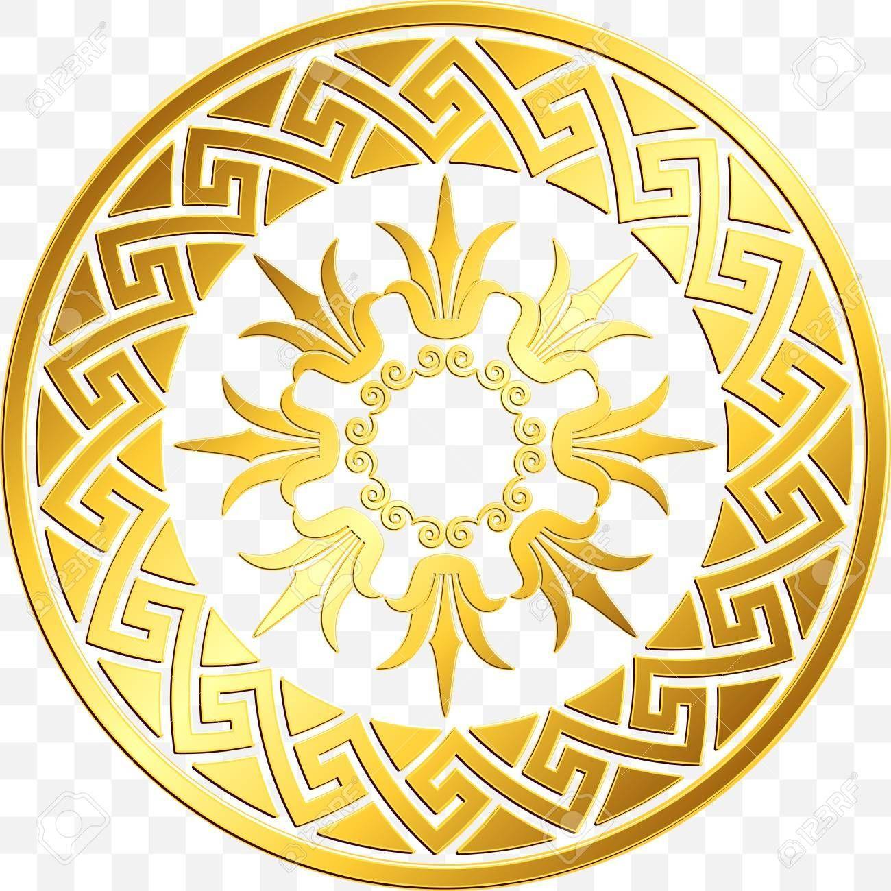 Traditional vintage Golden round Greek ornament, Meander
