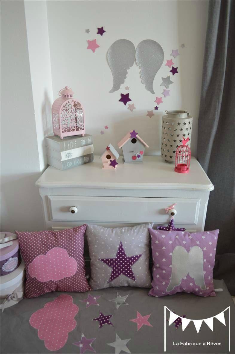 Captivant Lot 3 Coussins Thème Ange étoiles Parme Mauve Violet Argent Gris Rose  Décoration Chambre Bébé Fille 4