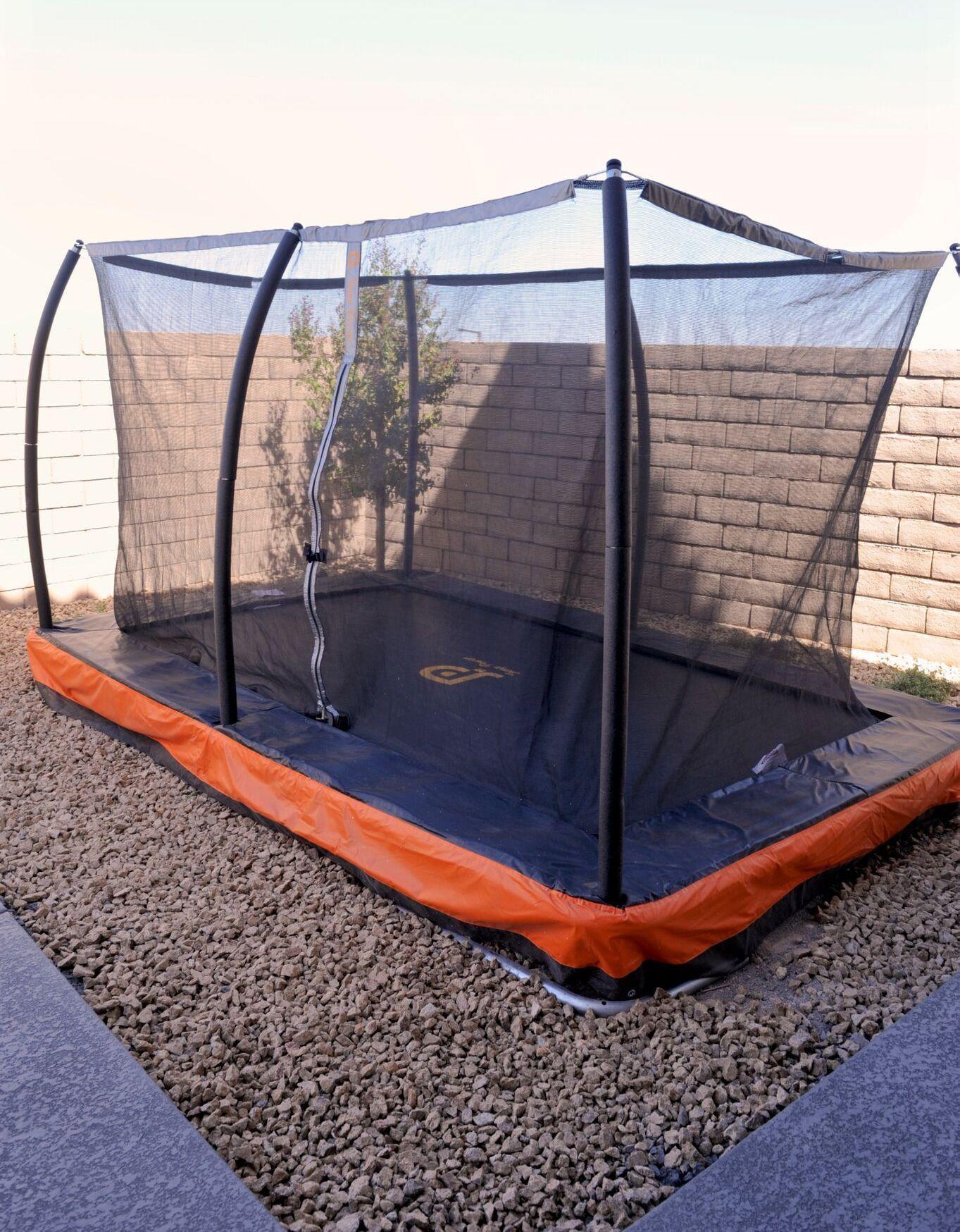 12ft x 8ft inground rectangular trampoline safety net