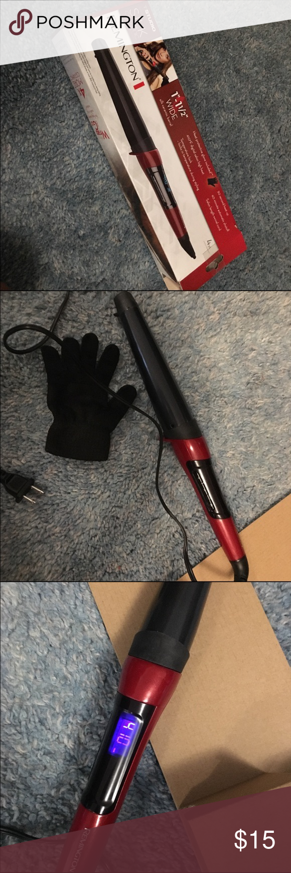 """Remington Curling Rod 1"""" - 1 1/2"""" Remington Curling Rod. Only used once for maybe 5 minutes. Heat protective glove still in box. 410 degree heat maximum. 30 second heat up. 60 minute automatic shut off. Swivel cord. Remington Accessories Hair Accessories"""