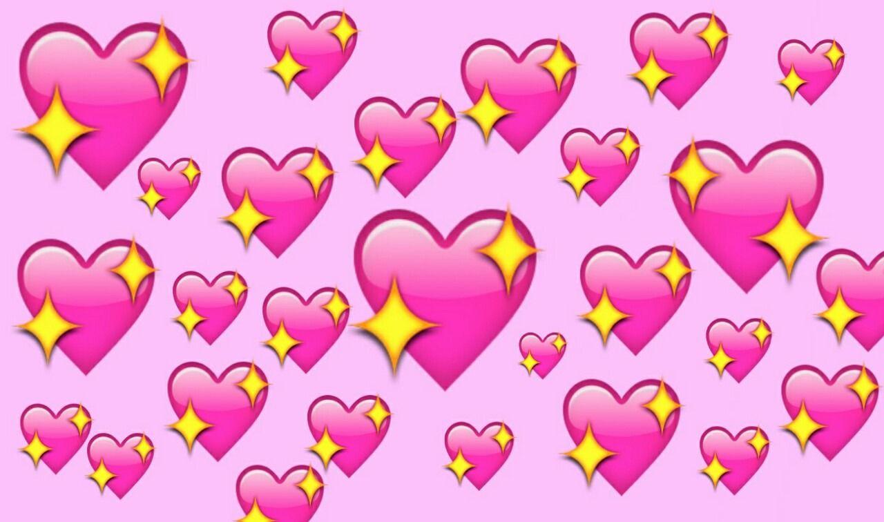 emoji pink hearts sparkle twinkle geek via bubbleguumm.weheartit ...