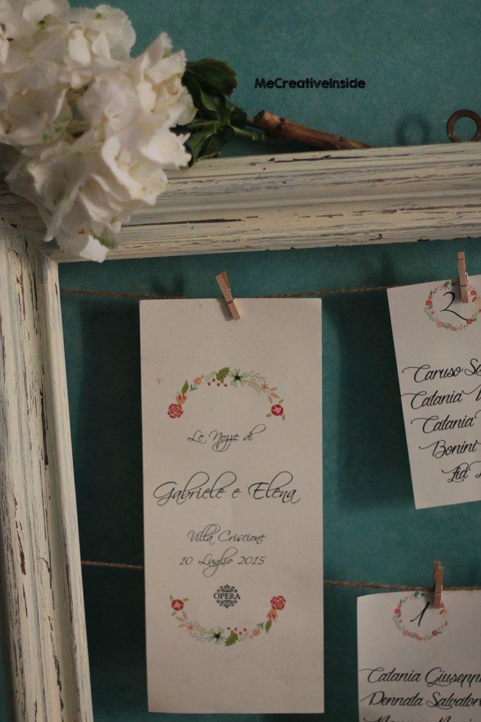 tutorial diy tableau de mariage shabby chic con cornice di riciclo fai da te ME creativeinside