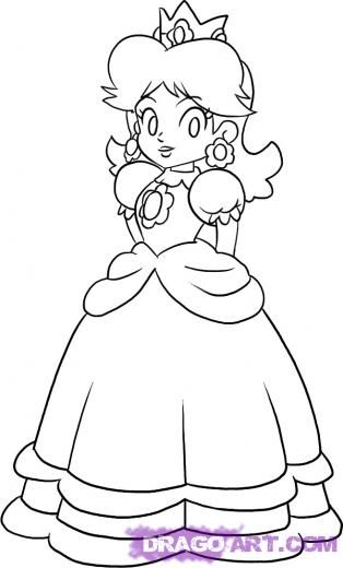 Princess Daisy Colouring Pages