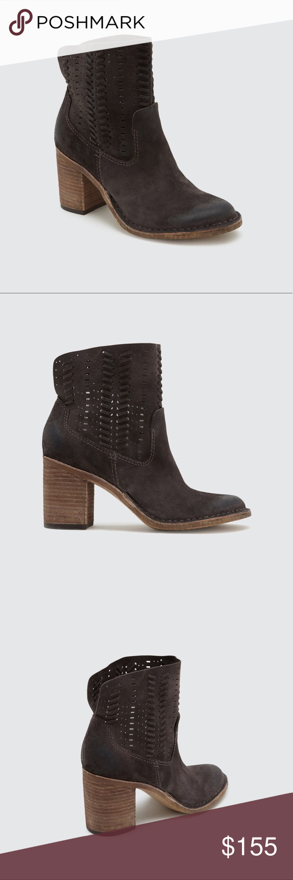 d9846431ac8b Suede Laser Cut Distressed High Bootie Not sure if it s the slouchy suede  that does wonders