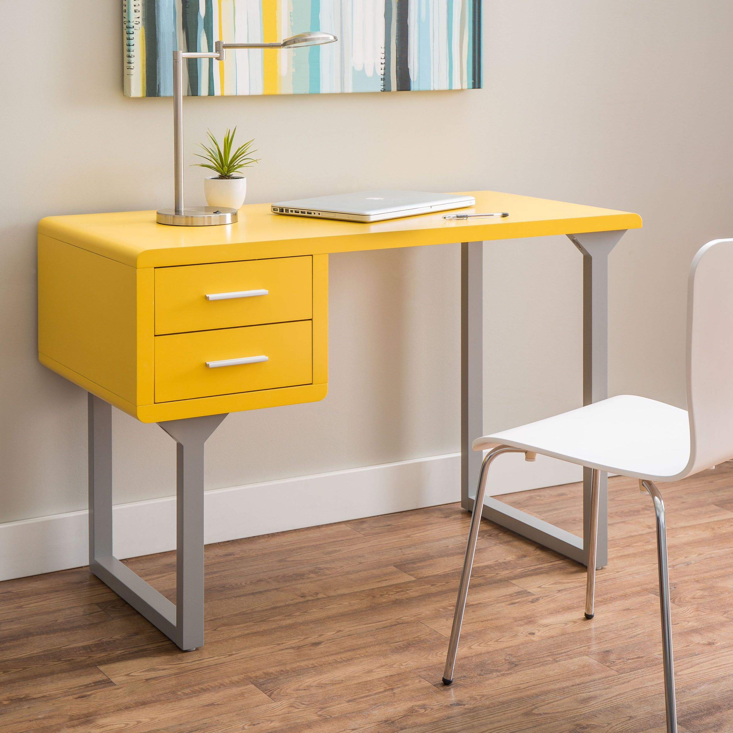Retro Yellow And Grey Writing Desk Ping Great Deals On Desks 219