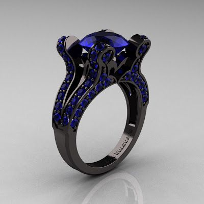 EngagementRingLine.com Blog: French Vintage 14K Black Gold 3.0 CT Blue Sapphire...