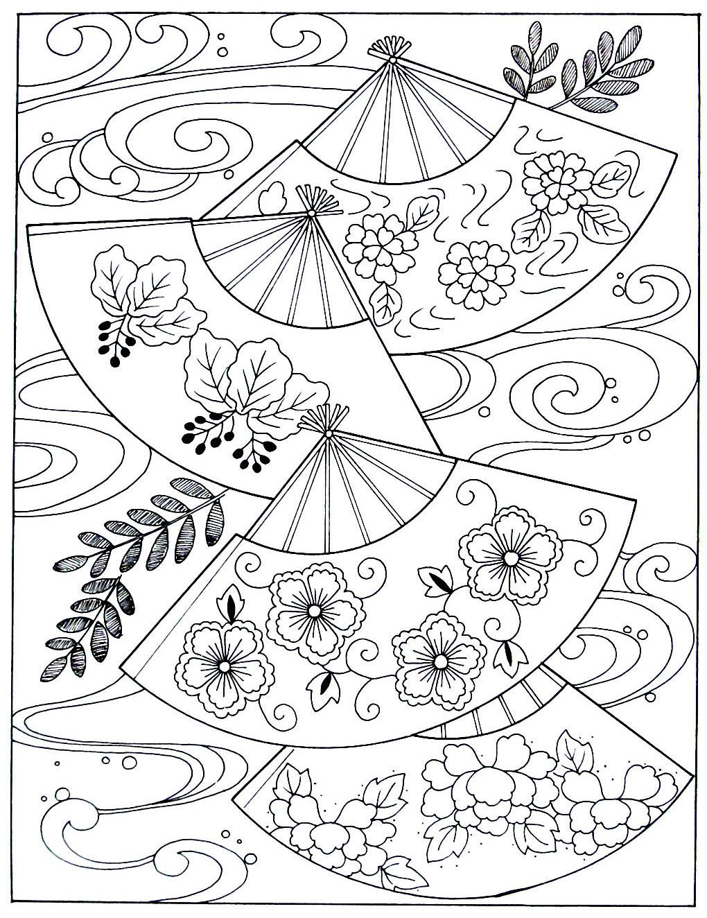 Japanese fans and waves Japanese coloring book printable ...