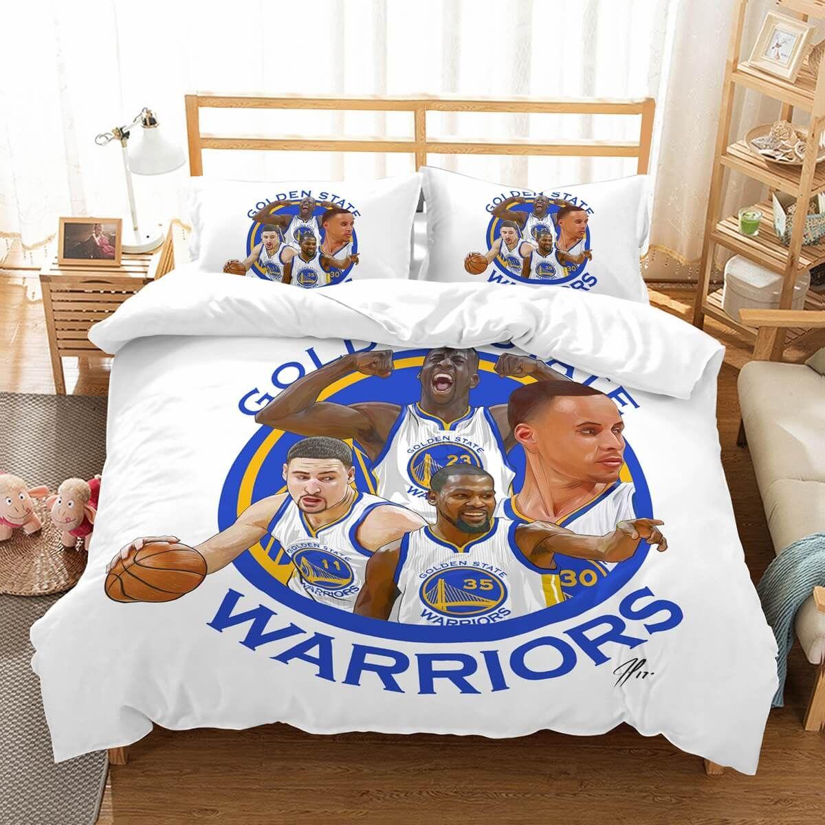 3d Customize Golden State Warriors Bedding Set Duvet Cover Set Bedroom Set Bedlinen Basketball Bedroom Golden State Warriors Bedroom Duvet Bedding Sets
