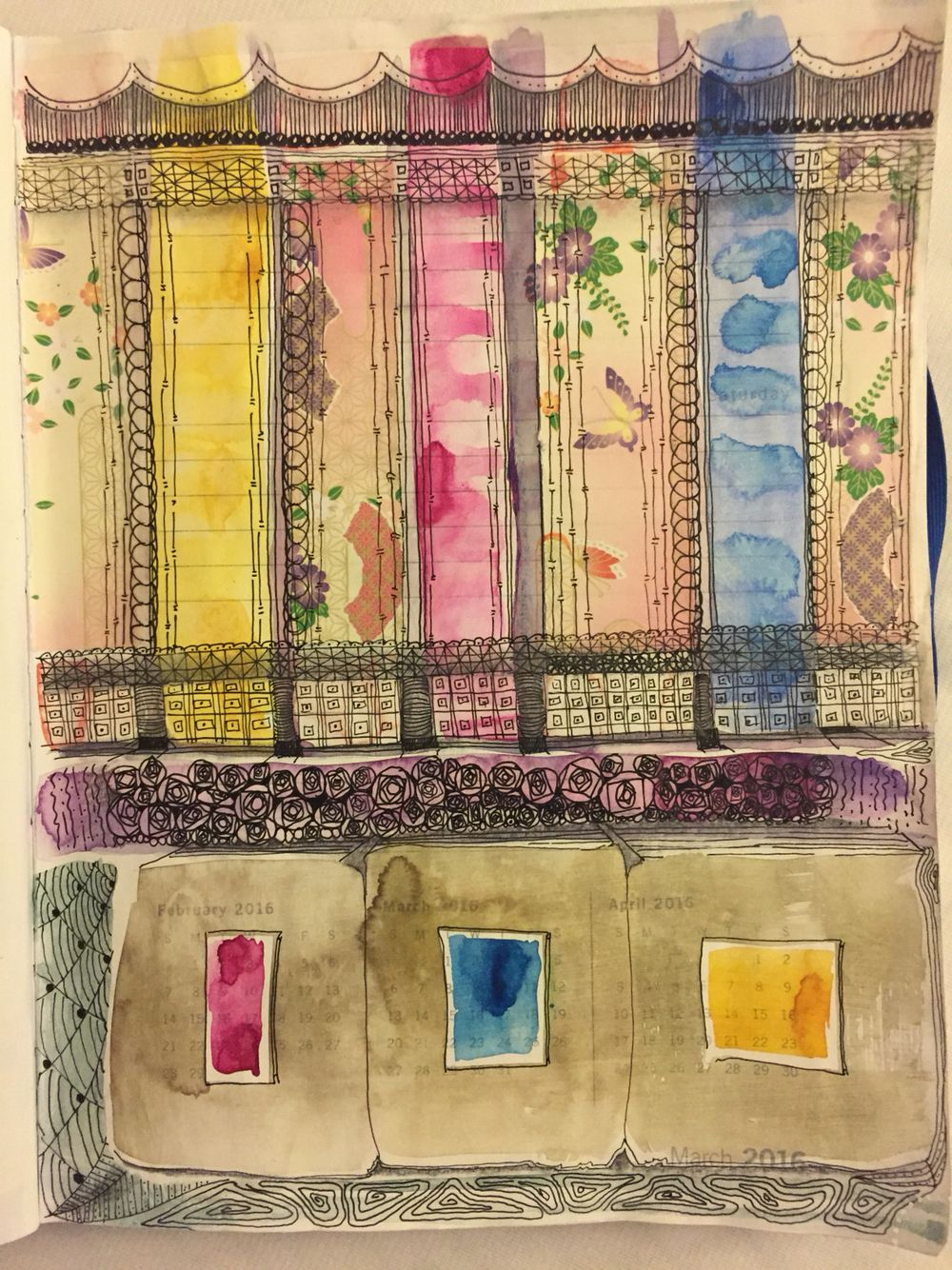 Art journal page of mine. Watercolor, origami paper, ink on gessoed planner page.
