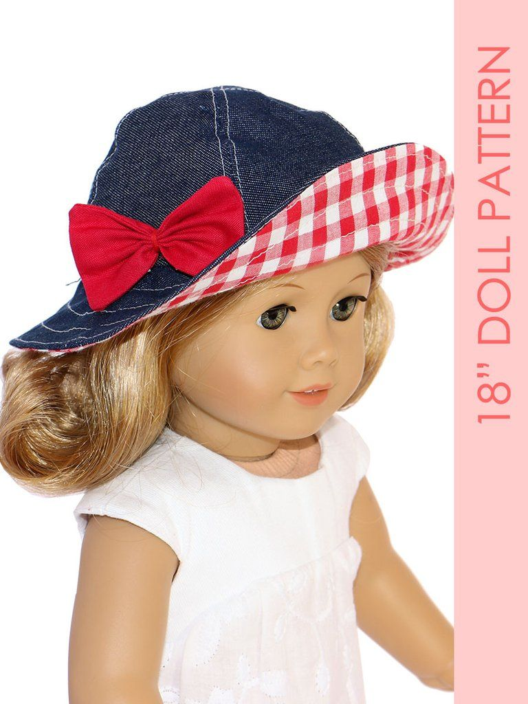 18 inch doll clothes patterns - SUNHAT (D1318) #dollhats