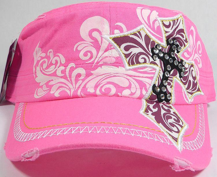 fe7fe9757c87c Wholesale Women s Rhinestone Western Paw Print Cowgirl Cadet Hats Hot Pink  Cap