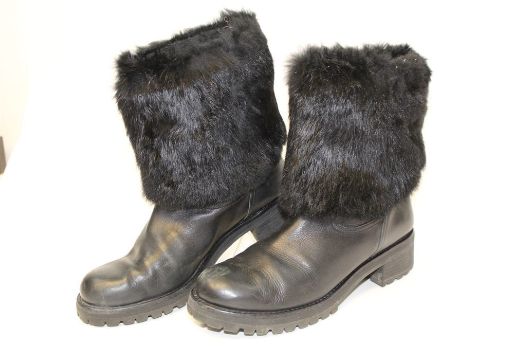 bf07bafaac11 Tory Burch Womens 11 M Joni Black Fur Cuff Leather Moto Winter Boots  31158216 gx