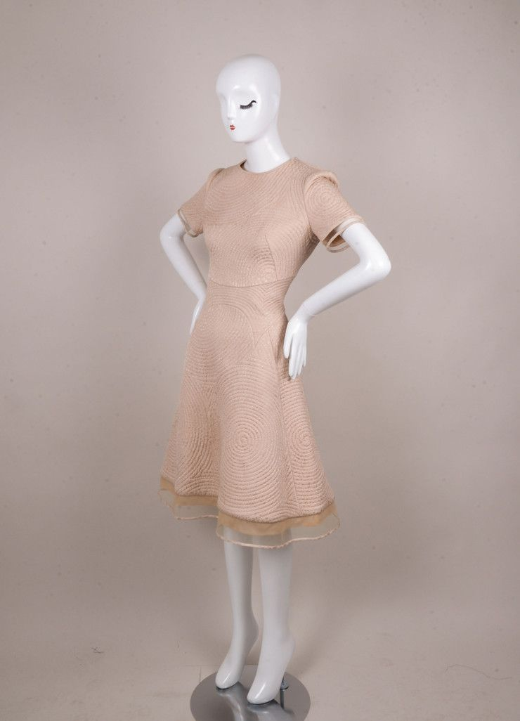 Pale Pink Circle Quilted Tulle Inset Dress