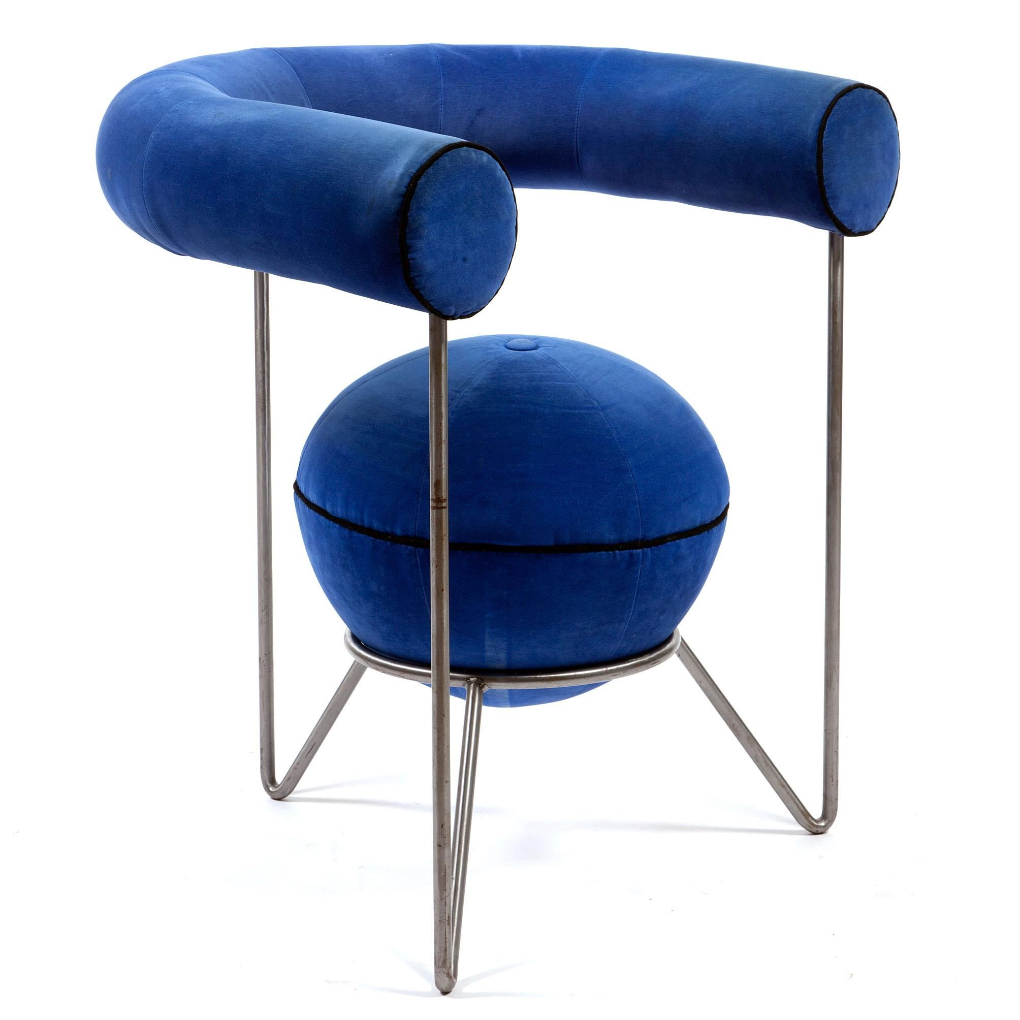 Royal Blue Contemporary Armchair Design Rik Tuithof Atlas 1992  # Muebles Tubulares Ponce