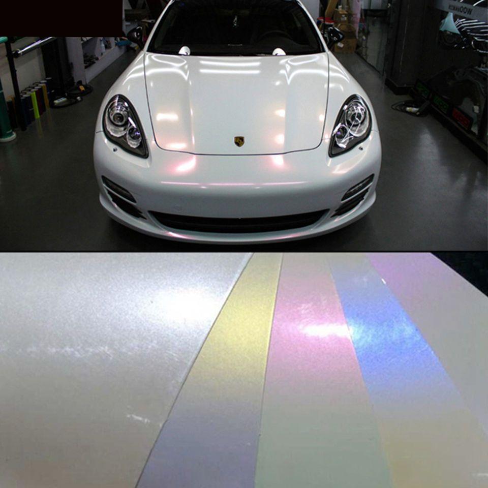 Best wrap car metallic pearl gloss white vinyl chameleon film sticker air free unbranded