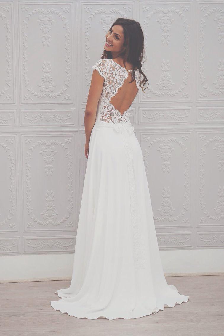 Lace cap sleeve a line wedding dress  Les recherches duune robe de mariéeu par une fille très compliquée